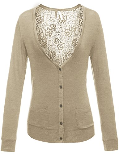 Button Front V-Neck Long Sleeve Lace Sexy Back Cardigans 006-Oatmeal US L