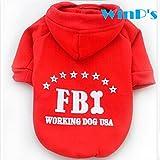 【WinP's】FBIロゴ HOODIE パーカー トレーナー 犬服 ペット服 RED-XL
