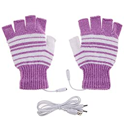 Chinatera 5V Laptop USB Powered Heated Stripe Half & Full Finger Winter Warm Hand Warmer Gloves Washable (Purple)