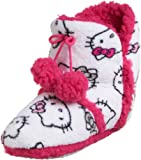 Hello Kitty Women's Short Bootie, White w/Pink Trim, Large (9-10)