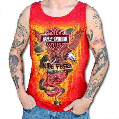 Harley-Davidson Mens Ride Free Eagle/Snake Red Sleeveless Tank (X-Large)