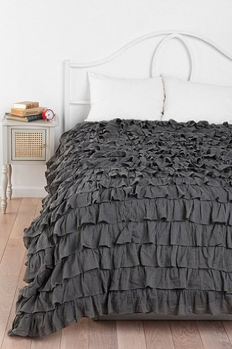 400Tc Solid Dark Grey Full Ruffle Duvet Set 100% Egyptian Cotton front-886468