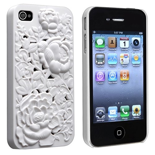 eForCity Snap-on Case Compatible with Apple® iPhone® 4 / 4S, White 3D Blossom Rose Sculpture