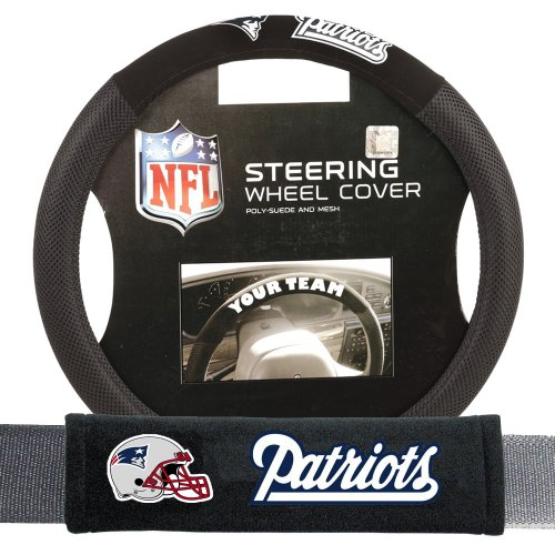 New England Patriots NFL Steering Wheel Cover and Seatbelt Pad Auto Deluxe Kit (Patriots Truck Seat Cover compare prices)