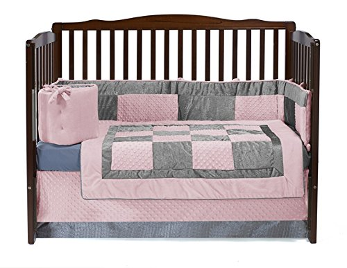 Baby Doll Croco Minky Crib Set, Pink/Grey