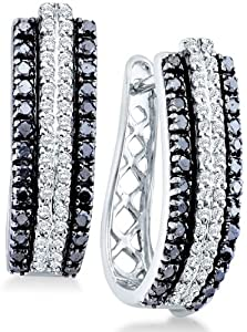 14k White Gold Round Black and White Diamond U Shape Earrings (1.05 cttw)
