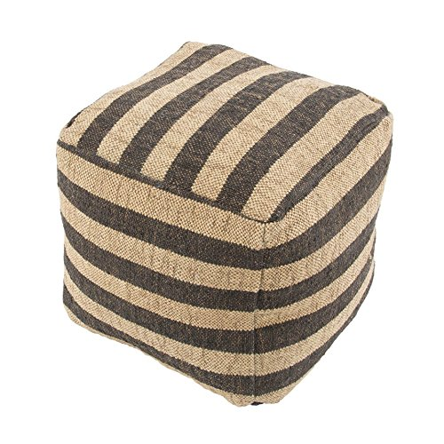 "Jaipurrugs Furniture Decor Ottomans Handmade Metal Wool Ivory/Black Pouf Border Color Black 16""X16""X16"""