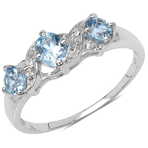 The Blue Topaz Ring Collection: Ladies Sterling Silver Blue Topaz Engagement Ring with 0.81 Carats Genuine Blue Topaz & 4 White Topaz (Size Q). Comes in a Quality Ring Case for that Special Gift.