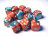Chessex Manufacturing 26653 D6 Cube Gemini Set Of 12 Dice, 16 mm - Copper & Teal With Silver Numbering by Chessex Manufacturing