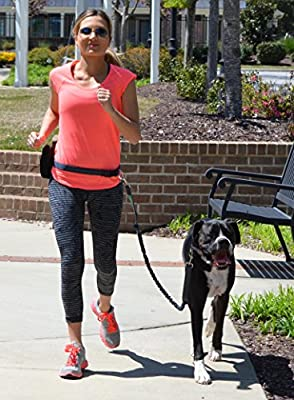 Black Rhino - Premium Hands Free Dog Leash for Running Walking Jogging & Hiking - Durable Dual Handle Bungee Leash | Medium - Large Dogs | Reflective Adjustable Waist Belt - Running Pouch Included