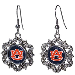 Auburn Tigers Earrings 3 4 Rounded Flower Incased Logo Trimmed by Judson