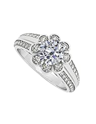 Fancy Cubic Zirconia Fashion Floral Ring In 925 Sterling Silver 1.50 CT TGW