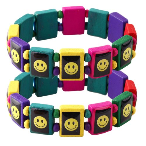 Wood Bracelet Smiley on Colorful Wood Elastic - Set of 2 - 1