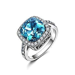 Forcolor White Gold Plated Women Ring Blue Crystal Square SWAROVSKI ELEMENTS