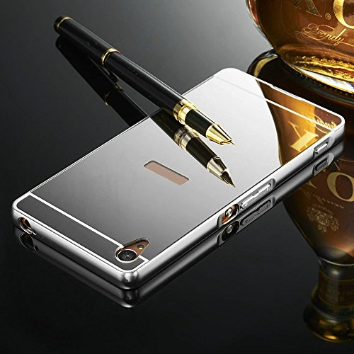 Kapa Luxury Mirror Effect Acrylic back + Metal Bumper Case Cover for Sony Xperia Z2 - Silver