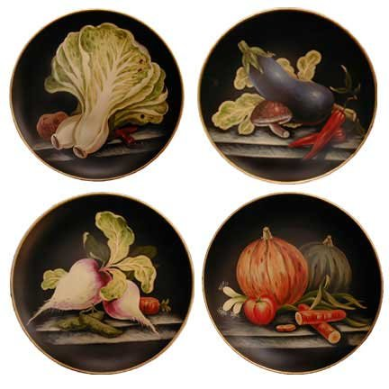 Handpainted porcelain decorative plates - set of 4 - vegetables