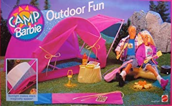 Camp Barbie Outdoor Fun Playset w Tent, Sleeping Bag & More! (1993 Arcotoys, Mattel) by Arcotoys/ Mattel