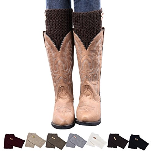 DZT1968®Short Knit Button Leg Warmer Boots Socks For Women Girl Fall Winter
