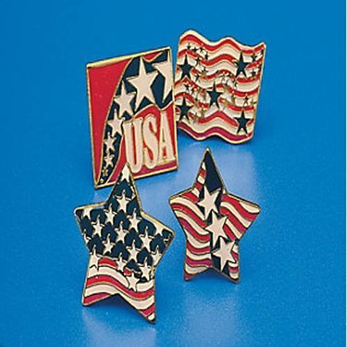 METAL PATRIOTIC CLUTCH PINS (1 DOZEN) - BULK