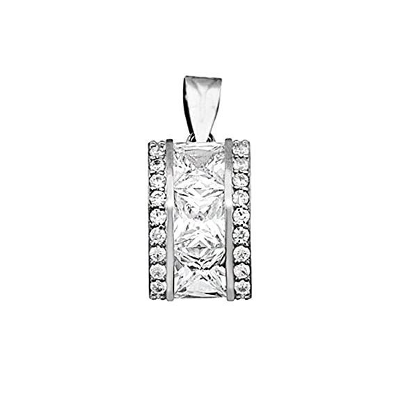 18k white gold pendant zircons carré 6mm. [AA4754]