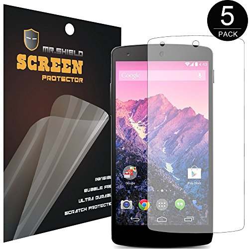 Mr Shield Google(Lg) Nexus 5 Premium Clear Screen Protector [5 Pack] (At&T, T-Mobile, Sprint, Verizon)Lifetime Replacement Warranty