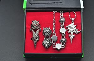 Topbill Anime Final Fantasy FF14 Ring & Necklace Set Cosplay (Lion head)