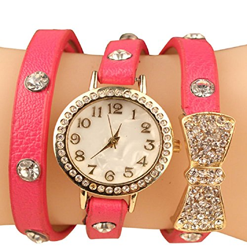 Tonsee(Tm) Fashion Women Bowknot Crystal Quartz Watch Imitation Leather Watch (Hot Pink)