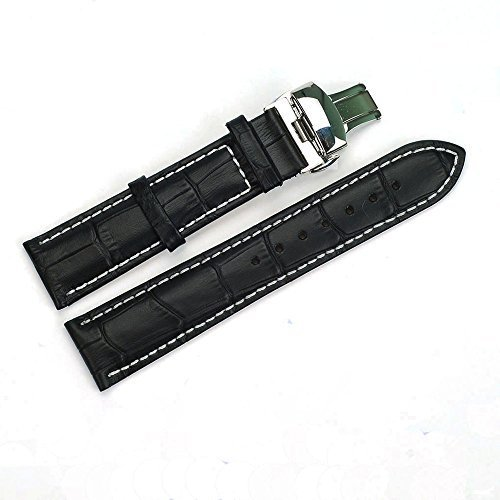 ACUNION™ 20mm Cowhide Leather Watch Strap Push Button Butterfly Deployment Buckle Watch Band Black (Leather Strap For Omega Watch compare prices)