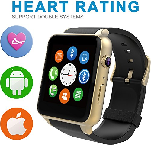 Starrybay? Smart Watch Bluetooth Sports Watch with Heart Rate Monitor,touch Screen and Magnetic Charging for Android Samsung Htc/apple Ios (GT-Golden)