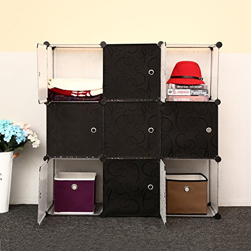 C&AHOME -DIY Bookcase Media Storage Standing Shelf Storage Cabinet Cube of 9 (Black Cross Door) (Storage Cabinet Glass Door compare prices)