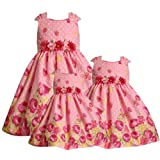 Bonnie Jean - Iris & Ivy Little Girls 4-6X PINK WHITE YELLOW SEQUINED FLORAL BORDER DOT Special Occasion Wedding Flower Girl Easter Birthday Party Dress