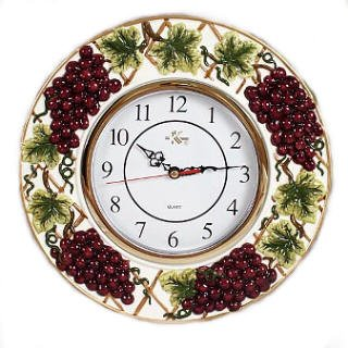 Wine Grapes Decorative Novelty Fruit Fruity Themed Wall Clock Kitchen Home Decor  Vineyard Theme Purple Shape