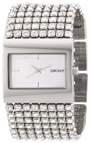 DKNY Ladies Stone Set Stainles Steel Bracelet Watch With Silver Dial