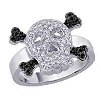 13 Ct Diamond Skull And Bone Ring With Black Diamond In 10k White Gold by Katarina