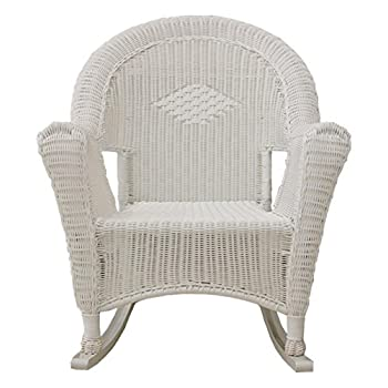 LB International White Resin Wicker Rocking Chair Patio Furniture
