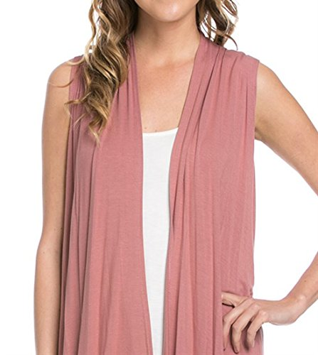 Women's Solid Color Sleeveless Asymetric Hem Open Front Cardigan -Made in USA (Large, Rose)