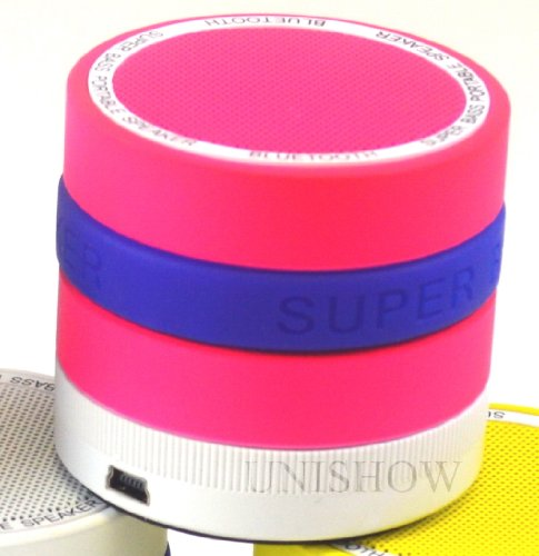 Pink Unishow(Tm) Super Bass Portable Mini Wireless Bluetooth Speaker Support Hands-Free Function Tf Card Built-In Fm Radio 360° Volume Adjustment For Pc/Ipod/Iphone/Mp3/Mp4 -Free Two More Random Colors Of Rubber Bands, Diy Your Speaker As You Like!