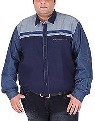 Xmex Men's Cotton Shirt (KR-704BLUE, Blue, XX-Large)