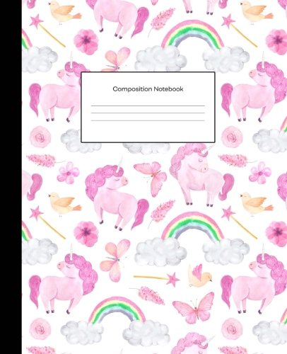 Composition Notebook Pink Watercolor Unicorns Wide Ruled Blank Lined Composition Book Journal (7.5 x 9.25 in) Cute Notebooks for Girls Teens Kids ... Diary Writing Notes (Composition Notebooks) [Nifty Prints] (Tapa Blanda)