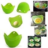 JJOnlineStore - Green Silicone Pan Mould Egg Poachers Poaching Pods Kitchen Cookware Breakfast - Set of 4