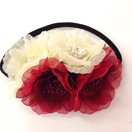 [해외]음악 축제 스트레치 머리띠 헤일로 첼라 모자 액세서리에 대한 모자 크림과 부르고뉴 꽃 머리띠 12 쪽 꽃 머리띠의 SET/SET of 12 Side Flower Headband for Hat  Cream and Bur