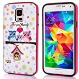 Nancy's shop Cellphone Case for Samsung Galaxy S5 I9600 Case 2 in 1 Combo Hybrid Case Dual Layer with Colorful Border Protective Case (owl family)