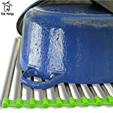 Dish Drying Rack - Multipurpose Roll Up Stainless Steel & Silicone Over the Sink Drainer, 19.8in by 14in by Fat Ninja