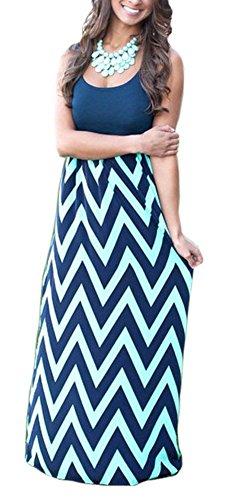 Demetory Women`S Boho Sleeveless Wave Striped Maxi Dress (U4-6/Tag S, Navy Blue)