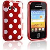 tinxi® Silikon Schutz Hülle für Samsung Galaxy Y Schutzhülle S5360 Rück Schale Tasche Cover Case Etui mit Weiß Punkt (Rot)