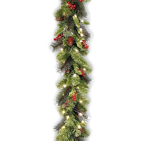 National Tree Company 9-Foot Crestwood Spruce Pre-Lit Garland with Clear Lights l Indoor/Outdoor Garland can be Displayed (Crestwood Fireplace compare prices)