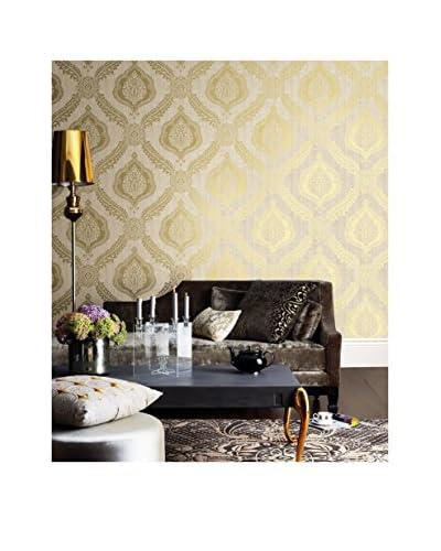 Brewster Zoraya Damask Strippable Wallpaper, Gold