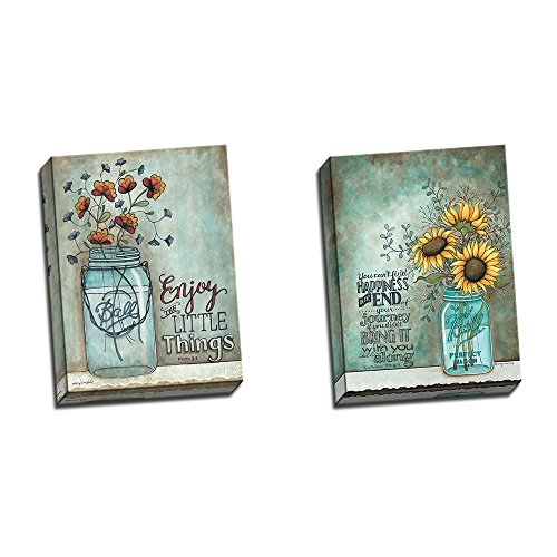 Two 12x16 Stretched Canvas Wall Art Prints Ball Mason Jars Sunflowers Poppies (Jar Art compare prices)