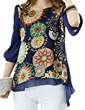 Amoin Women Floral Print Loose Plus Size Back Pleated Chiffon Blouse Tops 66166,Blue,Large