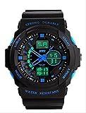 4 色 メンズ ダイバーズ LED ライト 多機能 腕 時計 デジアナ 防水 スポーツ アウトドア ウォッチ (ブルー)